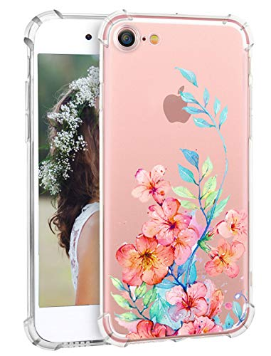 Hepix iPhone 7 Case iPhone 8 Cover Floral Flower Blossom Pattern Printed Clear Design Transparent Back Case with Soft TPU Bumper Protective for iPhone 7 iPhone 8