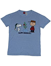 Peanuts Mens T-Shirt - Happy Holidays! Snoopy Tree & Charlie Brown