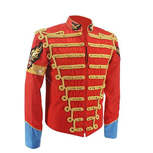 Michael Jackson Jacket Red Military Army Royal Retro England Style Men's Threading Jacket 1980S (XXL) -