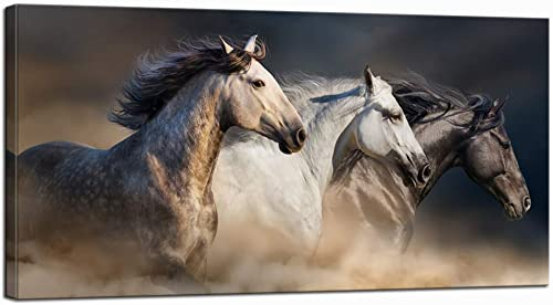 Nachic Wall Large Animal Pictures Wall Art Desert Running Horses Painting Picture Print on Canvas Modern Living Room Office Wall Decor