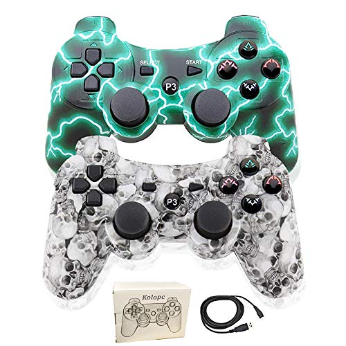 Kolopc 2 Packs Wireless Controller Gamepad Remote for PS3 Playstation 3 Double Shock - Bundled with USB Charge Cord (one Green and White Skull1)