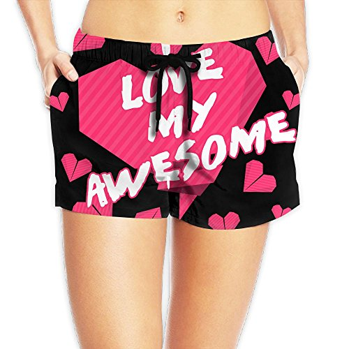 I Love My Awesome Wife Be My Valentines Beach Shorts Summer Fashion Womens Sexy Quick Dry Boardshort WHENLUCKY