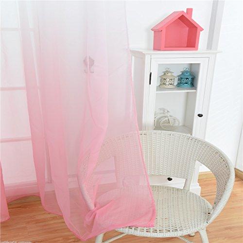 Light Pink Ombre Sheer Voile Room Door Window Curtain Linen Indoor Outdoor Gradient Gauze Drape Curtain Panel for Kid'Bedroom Living Room,1 Panel,Window Treatment Curtain,40x79 inch,White,Light Pink