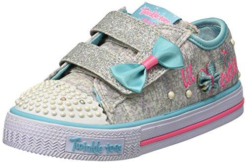Skechers Kids Girls' Shuffles-Butterfly Beauty Sneaker,grey/mint,5 Medium US Toddler