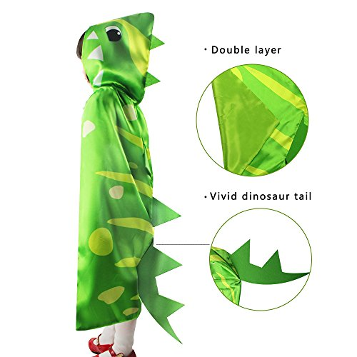 iROLEWIN Dinosaur Hooded Spikes Cape - Pretend Cosplay Animal Dress Up Costumes - (Diy Animal Costumes)