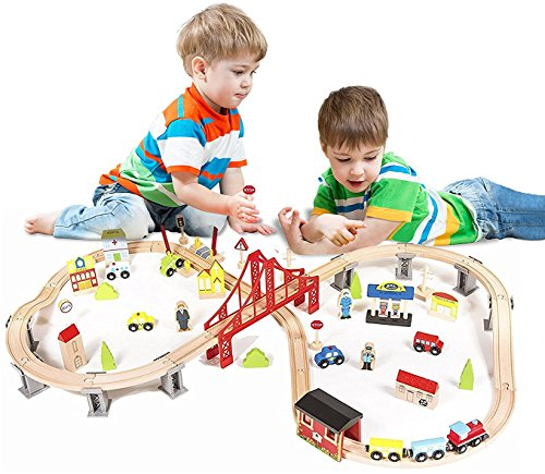 Elevated Train (Metropolis City Life Super Highway 70 Pieces Wooden Railway Train Set - Compatible with All Major Brands)