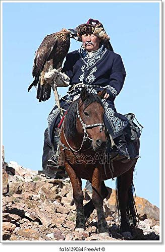 Barewalls Mongolia - 25 July: The Senior Mongolian Horseman in Traditional Clothing with Golden Eagles During The Festival of Name The Golden Eagle Festival July 25, 2011, Mongolia -. (54in. - Eagle Mongolian