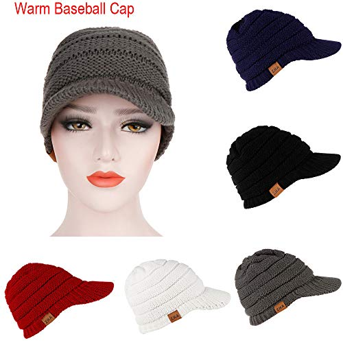 AMSKY Jacket for Women,Adult Women Men Winter Crochet Hat Knit Hat Warm Baseball Cap,Visors