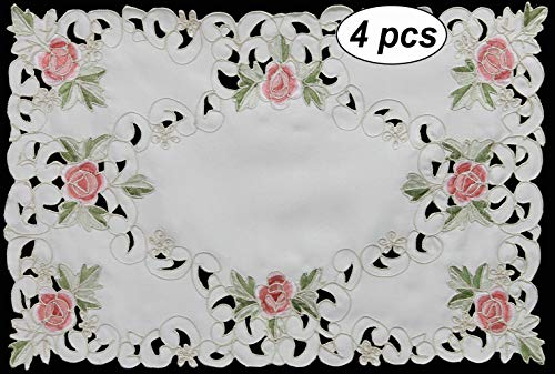 Creative Linens 4PCS Embroidered Rose Daisy Floral Placemats 11x17 Ivory, Set of 4 Pieces