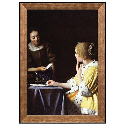 Mistress and Maid by Johannes Vermeer Framed Art