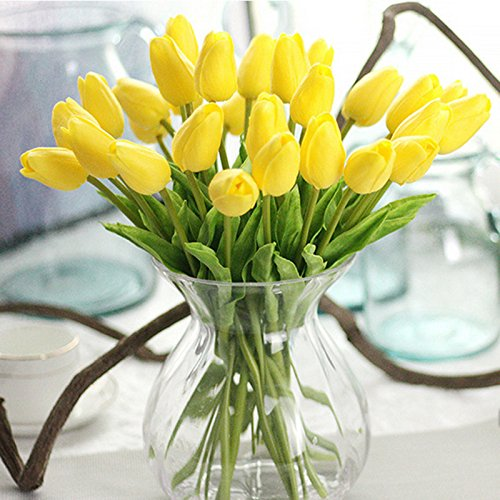 (Annibus Flower Tulip: 21pcs/lot Tulips Artificial Flowers PU Wedding Decoration Bouquet Real Touch Artificial Flower for Home Decor Flowers Wreaths)