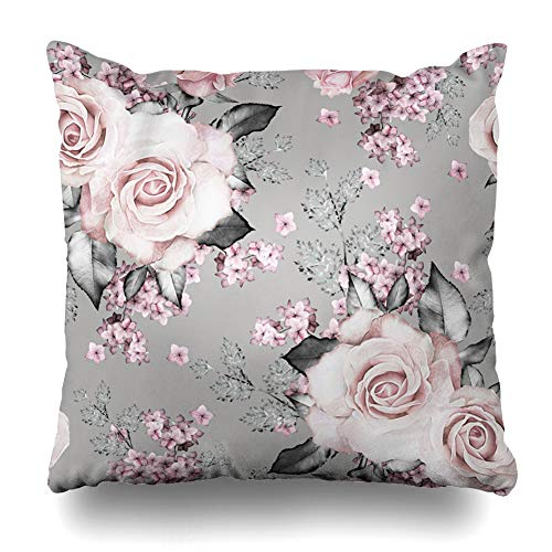 Ahawoso Throw Pillow Cover Color Abstract Pink Flowers Leaves On Gray Watercolor Floral Pattern Rose in Pastel Col Blossom Decorative Zipper Cushion Case Square 16