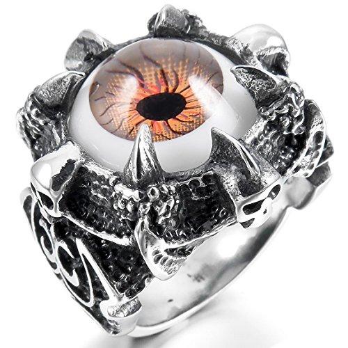 [INBLUE Men's Stainless Steel Ring Silver Tone Evil Devil Eye Skull Knight Fleur De Lis Size9] (Mens Evil Knight Costumes)