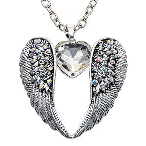 Stephenie Crystal Angel Wings Pendant Necklace Women's Biker Jewelry 18