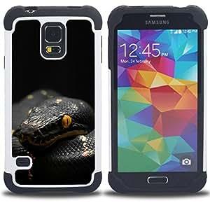 Dragon Case- Dise?¡Ào de doble capa pata de cabra Tuff Impacto Armor h??brido de goma suave de silicona cubierta d FOR Samsung Galaxy S5 I9600 G9009 G9008V- TROPICAL SNAKE MAMBA BLACK VENOM