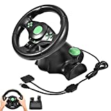 xbox 360 steering wheel feedback - USB 180 Degrees Gaming Vibration Racing Steering Wheel Pedals for XBOX 360/ PS2/ PS3/ PC PlayStation Accessories