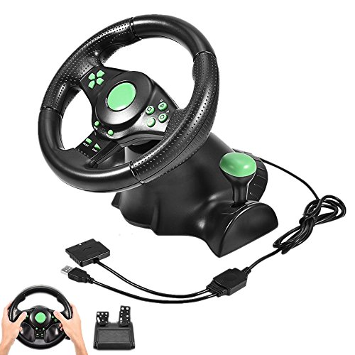USB 180 Degrees Gaming Vibration Racing Steering Wheel for sale  Delivered anywhere in USA