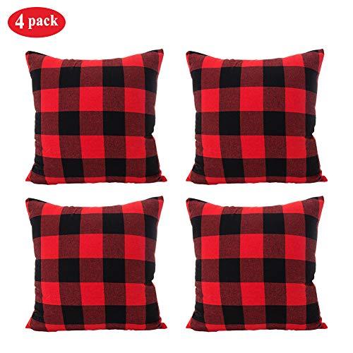 Christmas Soft Pillow - TEALP Farmhouse Soft Christmas Red and Black Buffalo Check Plaid Throw Pillow Case Cushion Cover for Sofa, 18 x 18 Inch Set of 4