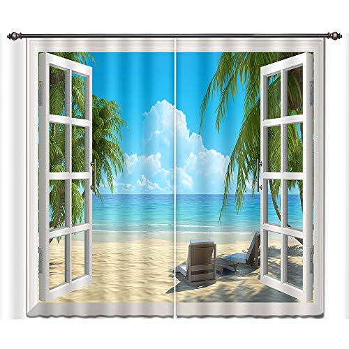 LB Tropical Beach 3D Window Curtains Drapes for Living Room Bedroom,Hawaiian Beach with Palm Trees and Sea Water Teen Kids Room Decor Blackout Curtains 2 Panels,42 x 63 inches -