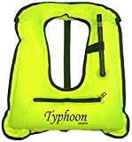 Typhoon Sports Inflatable Snorkel Vest Safety Jacket Horseshoe Design Swimming Diving (Adult XL 180 lbs +)