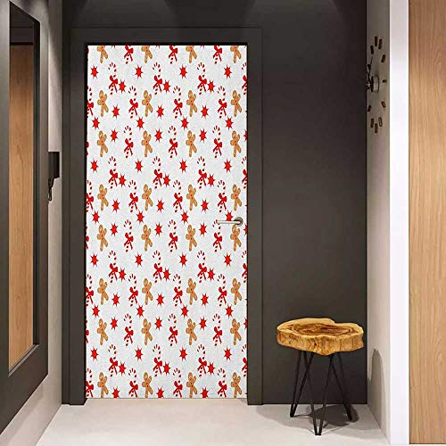 Toilet Door Sticker Gingerbread Man Candy Cane with Bowties Red Star Figures Gingerbread Man Pattern Glass Film for Home Office W31 x H79 Sand Brown Orange ()