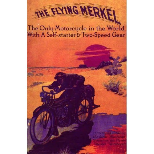 THE FLYING MERKEL MOTORCYCLE BIKE TWO SPEED SMALL VINTAGE POSTER CANVAS REPRO -