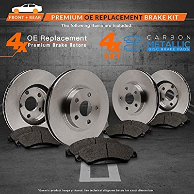 KT071442 Max Brakes Rear Premium Brake Kit OE Series Rotors + Ceramic Pads Fits: 2012 12 Chrysler Town /& Country w//302mm Front Rotor and Single Piston Front Calipers; Manufactured To3//23//2012