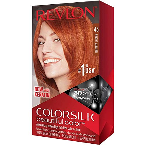 Revlon ColorSilk Beautiful Color [45], Bright Auburn, 1 ea (Pack of 6)