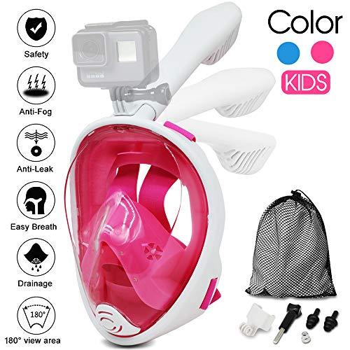 Máscara snorkel,máscara de buceo panorámico 180 grados de Vision Máscara de Snorkel de Cara Completa respirando Libre...