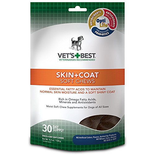 51VeQq98cOL - Vet's Best Skin & Coat Soft Chews Dog Supplements, 30 Day Supply