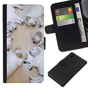 eJoy---La carpeta del tirón la caja de cuero de alta calidad de la PU Caso protector - Sony Xperia Z1 L39 - --White Labrador Retriever Puppies Dog