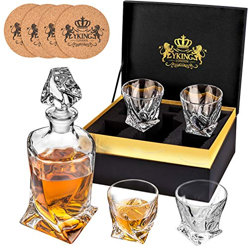 YKing Whiskey Decanter Set in Premium Gift Box with 4 Glasses and 4 Coasters Glass Decanter Set .. Whiskey Brandy Tequila Bourbon Scotch Rum Vodka Decanter Set with Glasses
