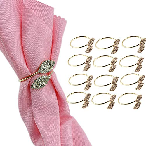 Elinq Set of 12 Rhinestone Leaf Shape Napkin Rings for Wedding Party Dinner Daily use Decor by Elinq