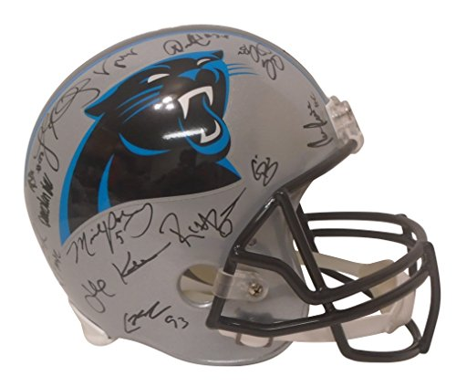 - 2017 Carolina Panthers Team Autographed Hand Signed Riddell Full Size Football Helmet with 27 Signatures Total and Exact Proof Photos of Signing and COA, Ron Rivera, Luke Kuechly, Devin Funchess