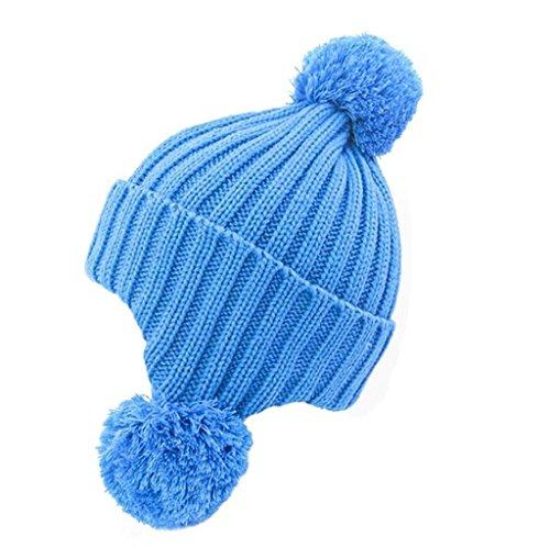 ZHAS Bola de pelo proteger el oído Cálido gorro de punto, Exterior Moda Sombrero peludas blue