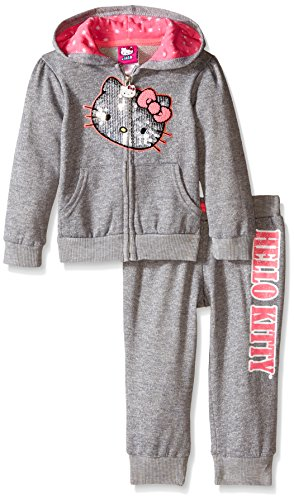 Hello Kitty Toddler Outfit (Hello Kitty Little Girls' Toddler 2 Piece Hoodie and Pant Set, Gray/Pink,)