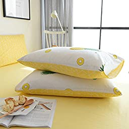 BuLuTu Pineapple Print Pattern Premium Cotton Full Bedding Collections With 4 Corner Ties Queen Bedding Duvet Cover Sets For Boys Girls White