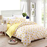 HOLY HOME Duvet Cover Mini Set Acrylic Fiber-Mixed Cotton Simple Style Anti-Bacterial & mite 4 Pieces Beddings Twin Size: 70''x86'' Yellow Lemon White
