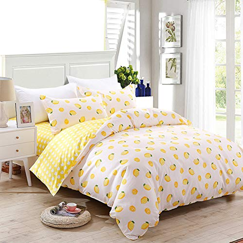 HOLY HOME Duvet Cover Mini Set Acrylic Fiber-Mixed Cotton Simple Style Anti-Bacterial & mite 4 Pieces Beddings Twin Size: 70''x86'' Yellow Lemon White by HOLY HOME