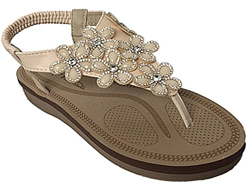 Ladies Faux Sling Flat Sandals Post Toe Summer Flower Diamante PU Size Back Maya Nude 3 Grace Foam Elastic 8 Leather E6x8Erw