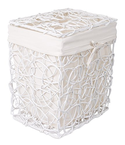 BirdRock Home Decorative Willow Laundry Hamper with Liner | Woven Wooden Laundry Basket | Wicker Reed Frame and Lid | Removable Liner | Dirty Clothes Storage | White (White Wicker Storage Baskets With Lids)