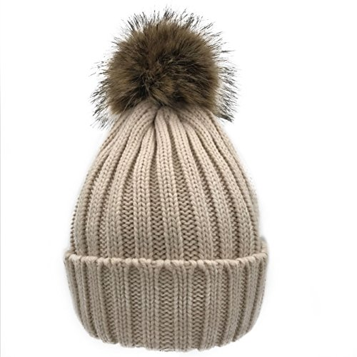 NINEWOOD Women/Men's Winter Hand Knit Beanie Hat with Faux Fur Pompom (Beige) ()