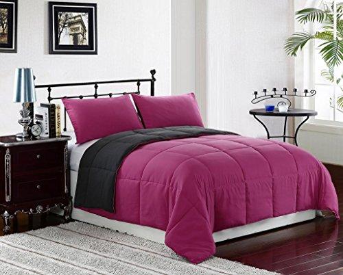 Pink/Grey FULL/QUEEN Size 3-Piece Reversible Down Alternative Comforter Set by Cozy Beddings