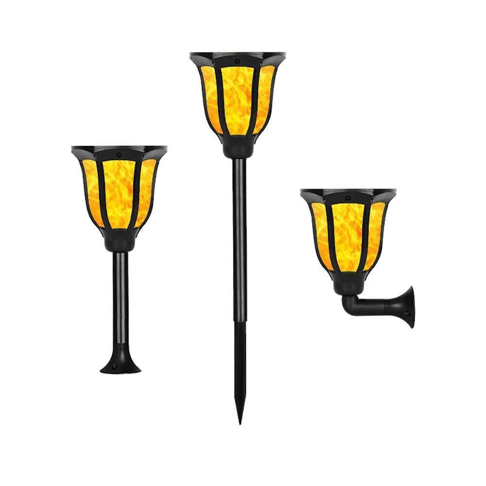 NUOCHEN Solar Flame Lights Landscape Torchlight Led Solar Dance Flame Flame Torchlight Outdoor Waterproof Wireless Column Lamp Lawn Wall Lamp(3 Packs)