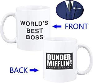 World's Best Boss Mug Dunder Mifflin Mug The Office Mug Double-Sided Mug PLUS World's Best Boss Lapel Pin for Boss Colleague Gifts