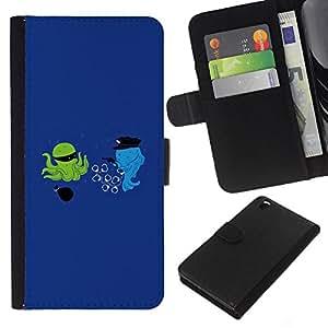 KLONGSHOP // Tirón de la caja Cartera de cuero con ranuras para tarjetas - La historieta divertida optimista azul - HTC DESIRE 816 //