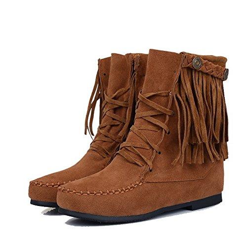 AgooLar Round Heels Top Toe Low Boots Closed Low Solid Zipper Yellow Women's rHXqr