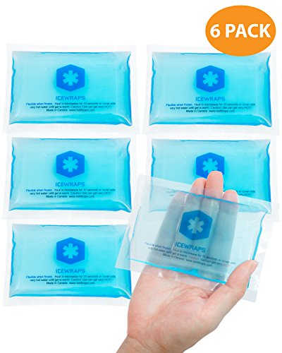 3x5 Gel Pack Reusable - 6 Hot or Cold Ice Packs for Overheating, Injuries, Pain Relief First Aid By IceWraps by IceWraps