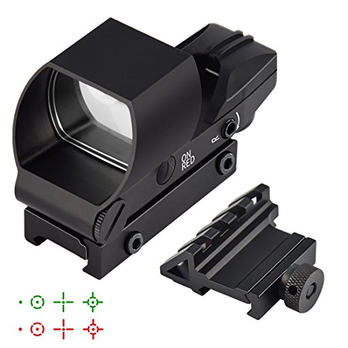 Feyachi Reflex Sight - Red & Green Dot Gun Sight Scope (4 Reticles) with 45 Degree Rail Mount - Upgraded On/Off Switch by Feyachi
