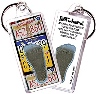 """product image for Anchorage """"FootWhere"""" Souvenir Keychain. Made in USA. (ANC104 - LIC Plates)"""